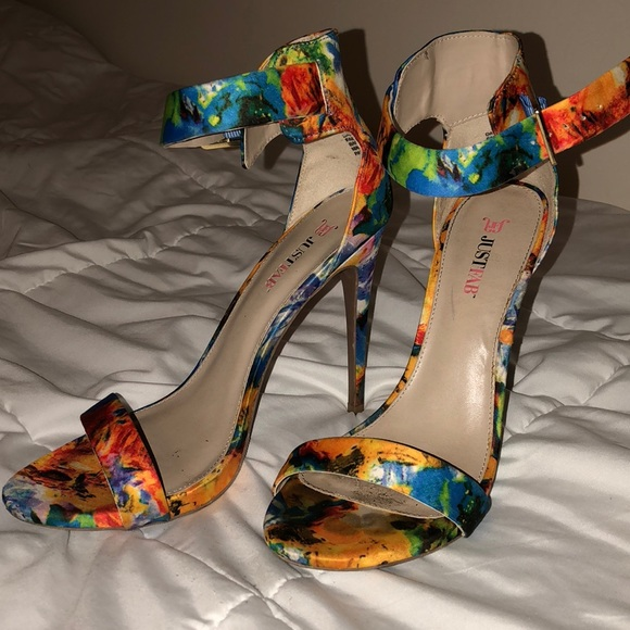 ee57a073501 JustFab Shoes   Floral Stiletto Ankle Strap Heels   Poshmark